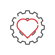 Logotipo Con Engranaj En Corazón Con Lineas En Color Gris Y Rojo