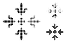 Meeting Point Halftone Dotted Icon. Halftone Array Contains Circle Dots. Vector Illustration Of Meeting Point Icon On A White Background.