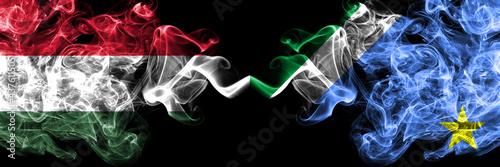 Canvas-taulu Hungary, Hungarian vs Brazil, Brazilian, Mato Grosso do Sul smoky flags side by side