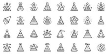 Party Hats Icons Set. Outline Set Of Party Hats Vector Icons For Web Design Isolated On White Background