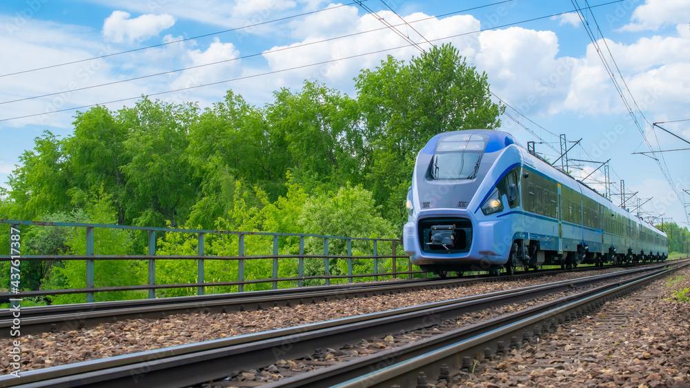 Fotografie, Obraz blue eco train on the tracks