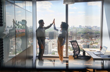 Happy Successful Indian Businessman And African American Businesswoman Giving High Five Celebrating Business Triumph Standing In Office Near Urban View Panoramic Window. Shot Through Jalousie Glass.