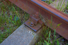 Old, Abandoned Wooden Railway Sleepers And Rails