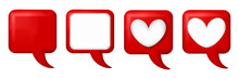 Red Square Text Box. Red Square Speech Balloon, Speech Bubble. White Empty Space For Text Is A Square Frame And Heart Frame. Icon Isolated. For Infographic Dialog Talk, Banner, And More.