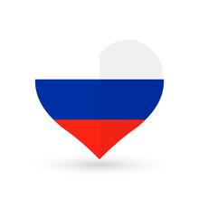 Heart Symbol, Flag Of Russia, Vector Illustration