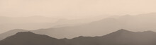 Mountains And Hills In The Morning Haze, Panoramic View