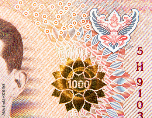 Fotografija Detail on a 1000 Thailand baht currency note