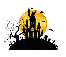 Halloween. Castle, Moon And Bats, Watercolor (2)
