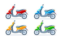 Scooter, Motor Scooter, Motorcycle Of Different Colors On A White Background. Yellow, Red, Green, Blue. Set. Vector Flat Illustration