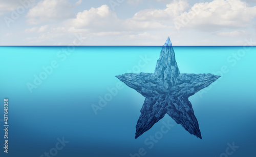 Fotografering Hidden talent discovery concept as a star shaped iceberg floating in cold arctic