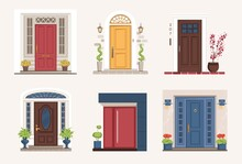 Outside Doors. Cartoon Residential Houses Entrances With Doorsteps. Exterior Architectural Elements. Home Porches With Potted Plants. Buildings Facades Mockup. Vector Doorways Set.