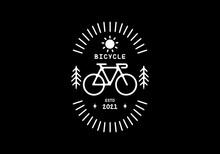 White Black Color Of Bicycle Line Art Illustration