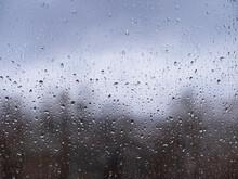 Raindrops On Window Glass, Autumn Season