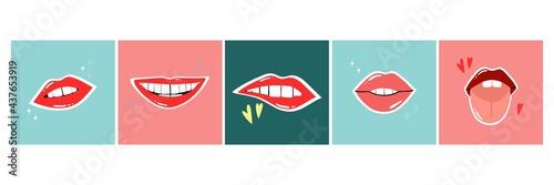 Obraz na plátně Red lips poster set