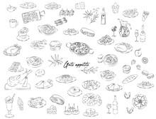 Various Food Icon Illustration Set