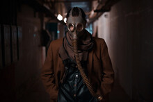 Bleak Future, Environmental Problems, And Pandemics. A Woman In A Bunker