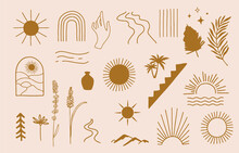 Collection Of Line Design With Sun,mountain.Editable Vector Illustration For Website, Sticker, Tattoo,icon