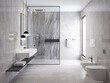 3d rendering of a grey minimal stone bathroom with a shower cabin and a toilet