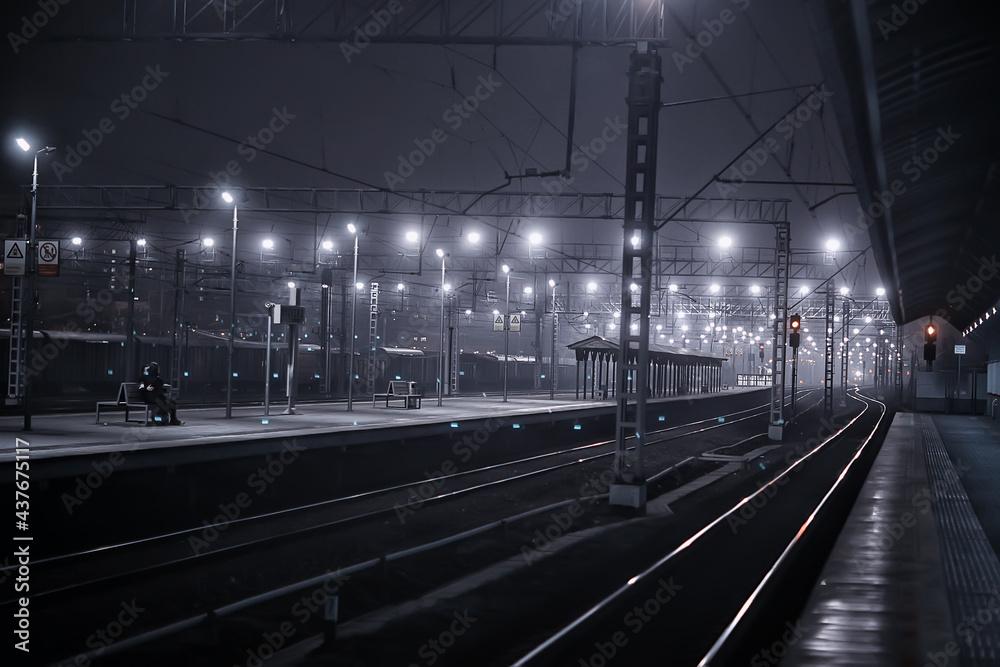Fotografie, Obraz railway tracks night landscape at the railway station fog autumn