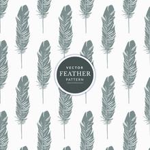 Vintage Seamless Pattern Feathers. Feathers Seamless Dark Pattern.