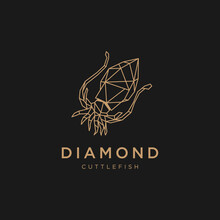 Modern Sacred Geometric Luxury Line Art Cuttlefish Octopus Tentacles Abstract Illustration. Diamond Cuttlefish Logo Design. Ocean Animal Marine Creative Symbol For Boutique Fashion Company