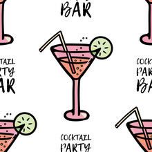 Vector Pattern Of A Glass With A Cocktail, Bubbles And A Slice Of Lemon, A Straw. Icon For Bar And Club, Website, Party, Cafe Menu, Bar Menu, Restaurant Design, Textile. Phrase Cocktail Party Bar.