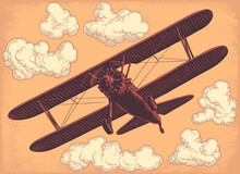 Airplane In The Sky. Hand Drawn Engraving. Editable Vector Vintage Illustration. Isolated On Light Background. 8 EPS