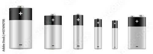 Photo Alkaline batteries realistic set