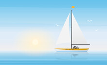 Sailboat Yacht In Clear Blue Water Waves Of Sea Or Ocean Landscape In Sunny Beautiful Day Vector Illustration. Cartoon Panorama Scenery With Ship Boat Under Sun, Summer Seascape Cruise Background