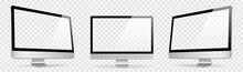 Realistic Set Computer. Device Screen Mockup Collection. Realistic Mock Up Computer With Shadow - Stock Vector.