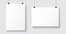 Vector Realistic White Blank A4 Paper Poster Hanging On A Rope With Clip - Stock Vector.