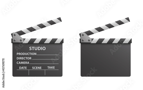 Slika na platnu Vector realistic of black open clapperboard or clapper - stock vector