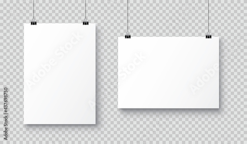 Foto Vector realistic white blank A4 paper poster hanging on a rope with clip - stock vector