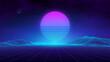 Retro landscape blue background. 3d vector background. Futuristic technology mountain landscape. Digital city neon 80s technology music background. EPS 10.
