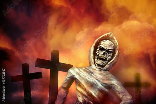 Obraz na płótnie skeleton of corpse emerged from the grave