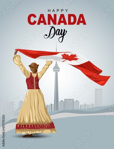 Fototapeta premium happy Canada day 1st July, girl holding with Canada flag. vector illustration. greeting card design