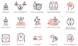 Vector Set of Linear Icons Related to Leadership Traits, Qualities for Success. Development and Teamwork. Mono Line Pictograms and Infographics Design Elements - part 4