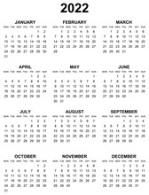 Simple Editable Vector Calendar For Year 2022 Mondays First, Sundays On Black, Easy To Edit And Use