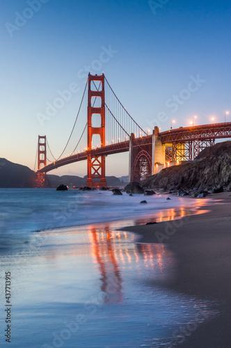 Golden Gate Bridge at night, San Francisco, California, USA #437713915