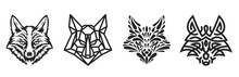 Collection Silhouettes Of Fox Or Wolf Head In Monochrome Different Styles Isolated On White Background. Modern Graphic Design Element For Label, Print Or Poster. Vector Art Illustration.