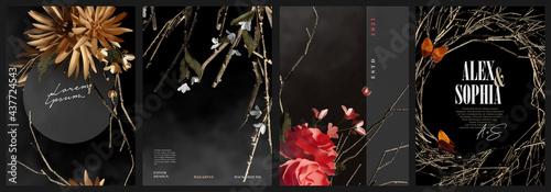Fotografie, Obraz Realistic dark elegant flowers and branches arrangement cover, magazine, poster