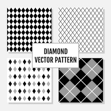 Set Of Diamond Geometric Pattern With White Background. Perfect For Textile And Fabric Print, Wallpaper, Greeting Card, Branding Packaging, Poster. Its Vector Illustration