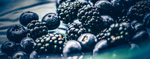 Blueberries And Blackberries As Fruit Background, Healthy Food And Berry Juice, Vegan Snack And Diet Nutrition.
