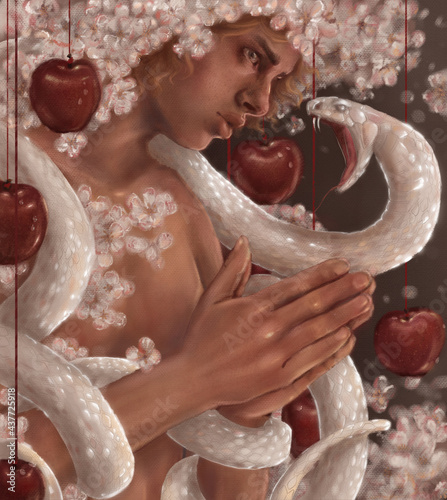 Fotografie, Obraz man in flowers and fruits of an apple tree prays looking at the attacking snake