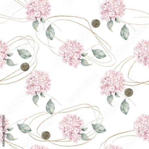 abstrakcyjny-nadruk-nordycki-z-hortensja-geometrycznymi-ksztaltami-i-zlotymi-elementami-na-bialym-tle-akwarela-bezszwowe-wzor-recznie-rysowane-ilustracja-marmuru-sztuka-mieszana