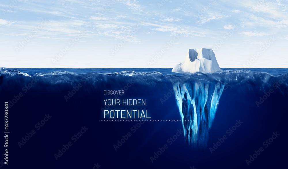 Leinwandbild Motiv - jirsak : Discover your hidden potential concept with iceberg