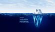 Leinwandbild Motiv Discover your hidden potential concept with iceberg