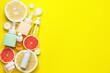 Leinwandbild Motiv Natural cosmetic products with citrus fruits on color background
