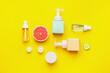 Leinwandbild Motiv Natural cosmetic products on color background