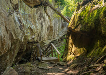 Wooden Boardwalk And Walkway Under The Cliffs In The Audra State Park Near Buckhannon In West Virginia